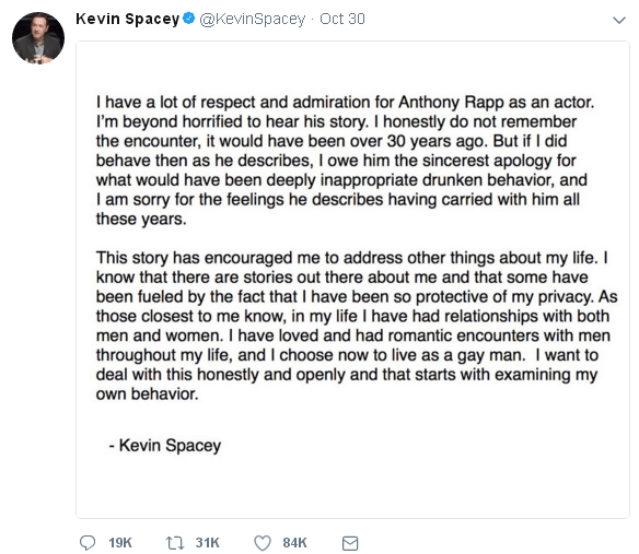 Kevin Spacey - Twitter - 30 oct 2017