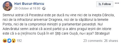 Hari Bucur-Marcu despre Cosmin Gusa si PSD