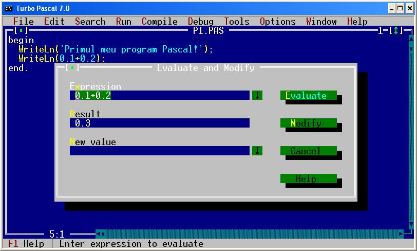 evaluare - Turbo Pascal 7.0